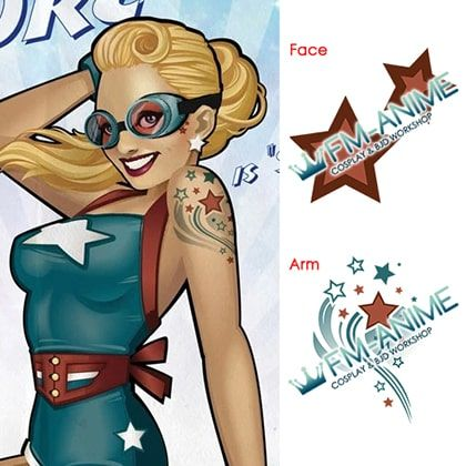 DC Collectibles DC Comics Bombshells: Stargirl Estatua Cosplay Temporary Tattoo Stickers