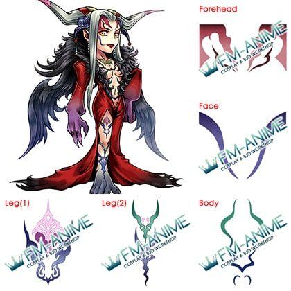 Final Fantasy VIII Last Boss Sorceress Ultimecia Cosplay Tattoo Stickers