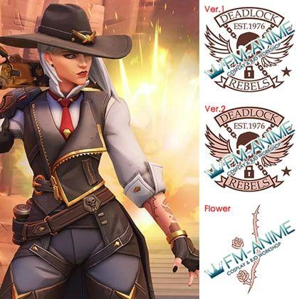 Overwatch Ashe Cosplay Tattoo Stickers