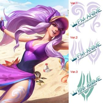 League of Legends Pool Party Syndra Cosplay Temporary Tattoo Stickers