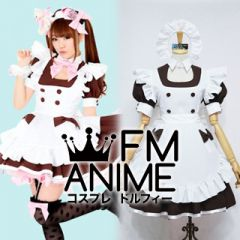 @Home Cafe Hitomi Maid Cosplay Costume (Brown)