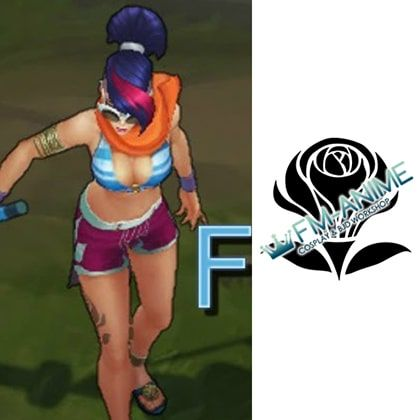 League of Legends Pool Party Fiora Cosplay Temporary Tattoo Stickers