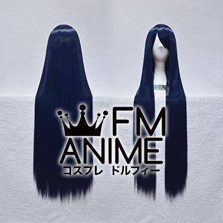 100cm Medium Length Straight Mixed Ink Blue Cosplay Wig