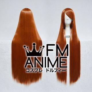 100cm Medium Length Straight Orange Mixed Brown Cosplay Wig