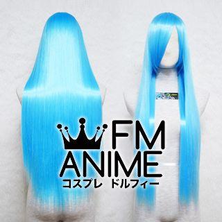 80cm Medium Length Straight Water Blue Cosplay Wig