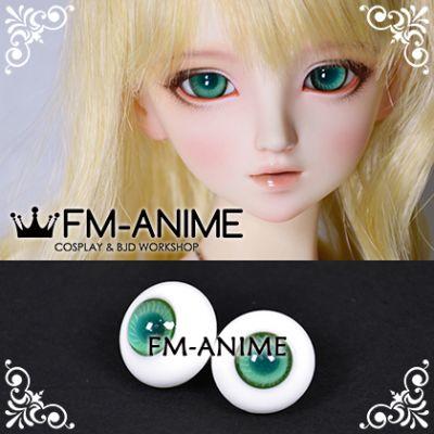 16mm Dark Green Seafoam Green Stripe & Indigo Blue Pupil BJD Dolls Glass Eyes Eyeballs Accessories