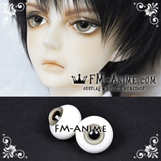 14mm Light Gray & Black Pupil BJD Dolls Glass Eyes Eyeballs Accessories
