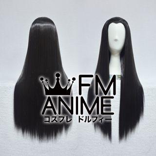 Back Combing Style 80cm Medium Length Straight Black Cosplay Wig
