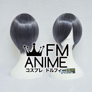 Short Straight Blue Mixed Gray Cosplay Wig
