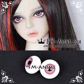 14mm / 16mm Puce Pink & Black Pupil BJD Dolls Glass Eyes Eyeballs Accessories