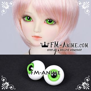 14mm / 16mm Gress Green & Black Pupil BJD Dolls Glass Eyes Eyeballs Accessories