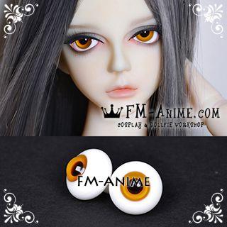 14mm / 16mm / 18mm Honey Orange & Dark Brown Pupil BJD Dolls Glass Eyes Eyeballs Accessories
