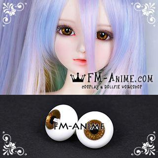 14mm / 16mm Gold Shiny & Black Pupil BJD Dolls Glass Eyes Eyeballs Accessories