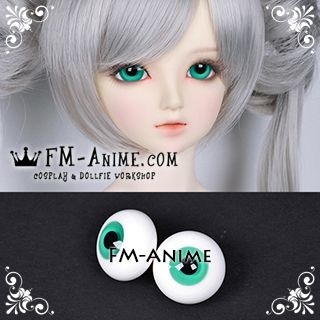 18mm Jade Green & Black Pupil BJD Dolls Glass Eyes Eyeballs Accessories