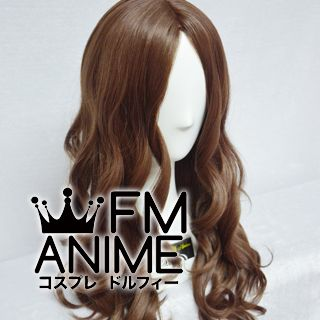 Bang Central Parting Style 55cm Medium Length Wavy Chocolate Brown Cosplay Wig