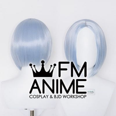 Bang Central Parting Style Short Straight Silver Blue Cosplay Wig