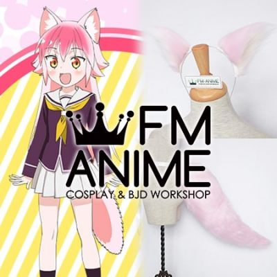 Come Together! to the Seton Academy Ranka Okami Pink Fluffy Ears & Tail Cosplay Accessories Prop