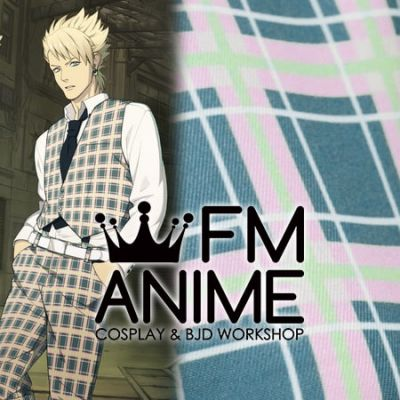Dramatical Murder Trip & Virus Cosplay Blue Pink Plaid Pattern Suit Textiles Fabric