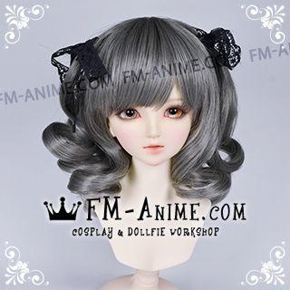 Short Wavy with Twintails Smoky Gray BJD Dolls Wig