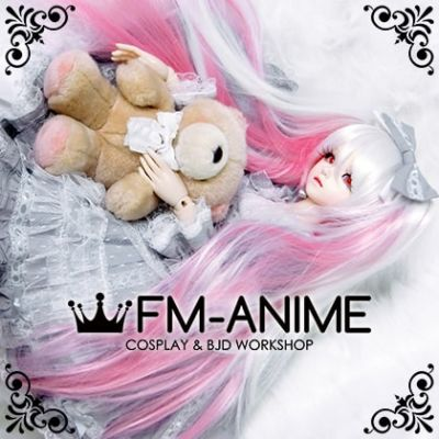 Long Straight Clips on Twintails White & Pink Vocaloid Hatsune Miku Sakura Cosplay BJD Dolls Wig