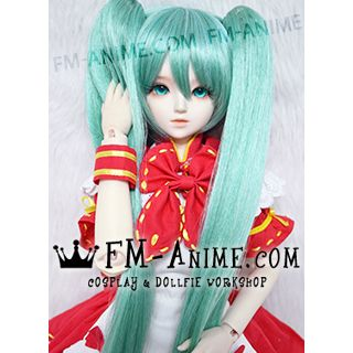 Long Straight Clips on Twintails Lake Green Vocaloid Hatsune Miku Cosplay BJD Dolls Wig