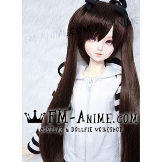 Medium Length Straight Twintails Dark Brown BJD Dolls Wig