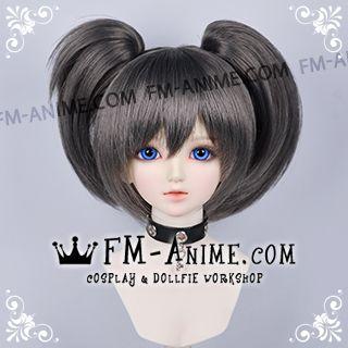 Short Clips on Twintails Smoky Gray Black Rock Shooter Mato Kuroi Cosplay BJD Dolls Wig
