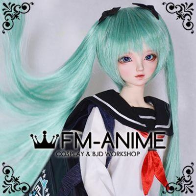 Long Straight Twintails Lake Green Vocaloid Hatsune Miku Cosplay BJD Dolls Wig