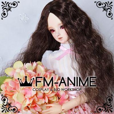 Medium Length Mermaid Curly Middle Part Hairstyle Dark Brown BJD Dolls Wig
