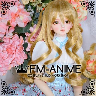 Medium Length Wavy with Pigtails Mixed Gold BJD Dolls Wig