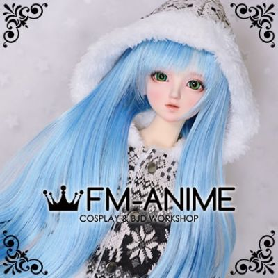 Long Naturally Curly Rose Blue BJD Dolls Wig
