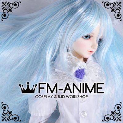 Long Naturally Curly Light Alice Blue BJD Dolls Wig