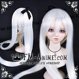 Long Straight Ponytail White BJD Dolls Wig