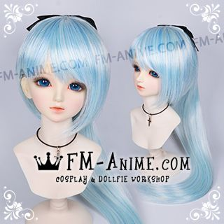 Medium Length Straight Ponytail Light Alice Blue BJD Dolls Wig