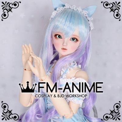 Medium Length Wavy Light Alice Blue & Light Purple BJD Dolls Wig