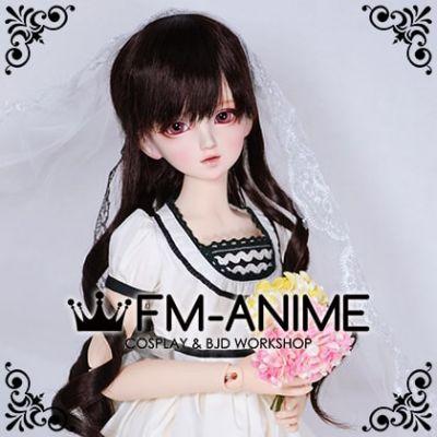 Medium Length Wavy Half Ponytail Hairstyle Dark Brown BJD Dolls Wig