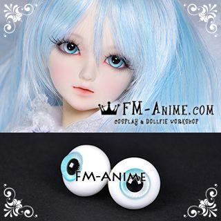 16mm Light Blue Spiral & Black Pupil BJD Dolls Glass Eyes Eyeballs Accessories