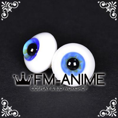 20mm Blue Yellow Flower & Black Pupil BJD Dolls Glass Eyes Eyeballs Accessories