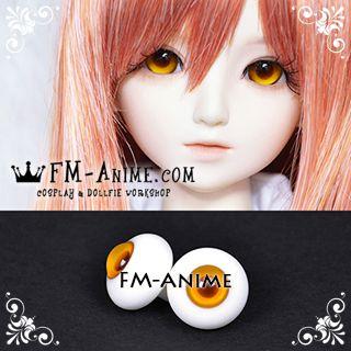 18mm Orange & Brown Pupil BJD Dolls Glass Eyes Eyeballs Accessories