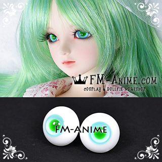 8mm / 16mm Light Blue & Green Pupil BJD Dolls Glass Eyes Eyeballs Accessories