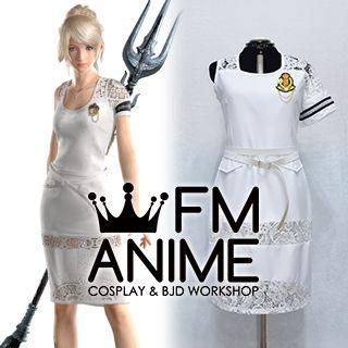 Final Fantasy XV: A New Empire LunaFreya Nox Fleuret White Dress Cosplay Costume