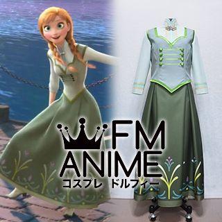 Frozen (Disney 2013 film) Anna Green Ending Dress Cosplay Costume