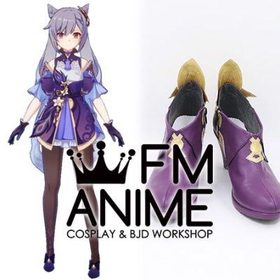 Genshin Impact Keqing Gold Purple Cosplay Shoes