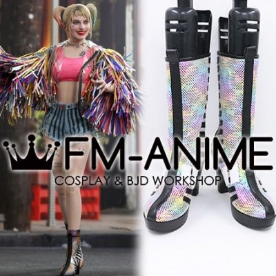 Harley Quinn: Birds of Prey Harley Quinn Caution Tape Jacket Version Cosplay Shoes Boots
