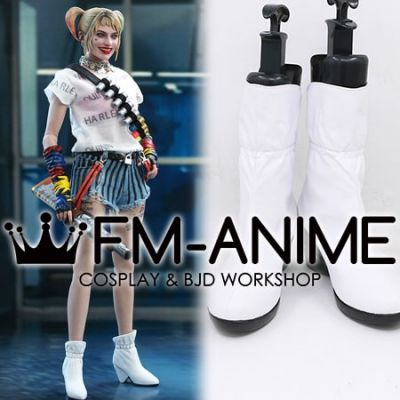 Harley Quinn: Birds of Prey Harley Quinn White Cosplay Shoes Boots
