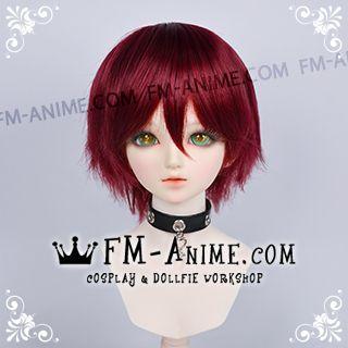 Short Layered Wine Red BJD Dolls Wig