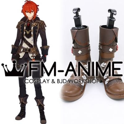 Genshin Impact Diluc Ragnvindr Brown Cosplay Shoes Boots