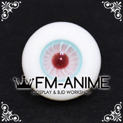 16mm Light Blue Pink Stripe & Dark Red Pupil BJD Dolls Glass Eyes Eyeballs Accessories (Slight Flaws)