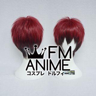 Short Spike Style Dark Red & Dark Brown Cosplay Wig