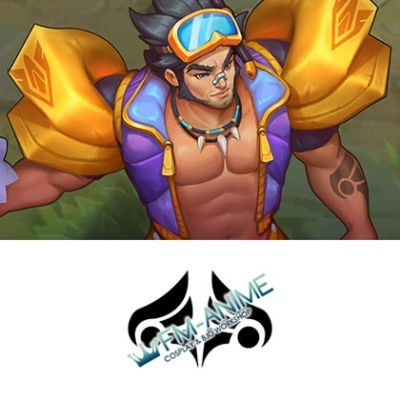 League of Legends Pool Party Jarvan IV Cosplay Temporary Tattoo Stickers
